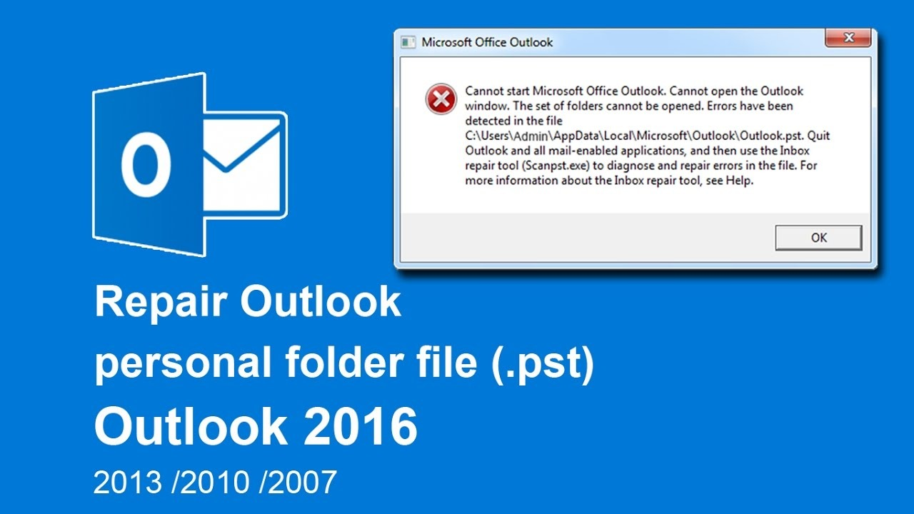 How to fix crashes in Outlook due to corrupt Outlook data files (.ost or .pst)