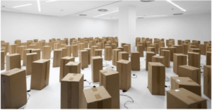 Sound art Installation Created 250 Cardboard Boxes