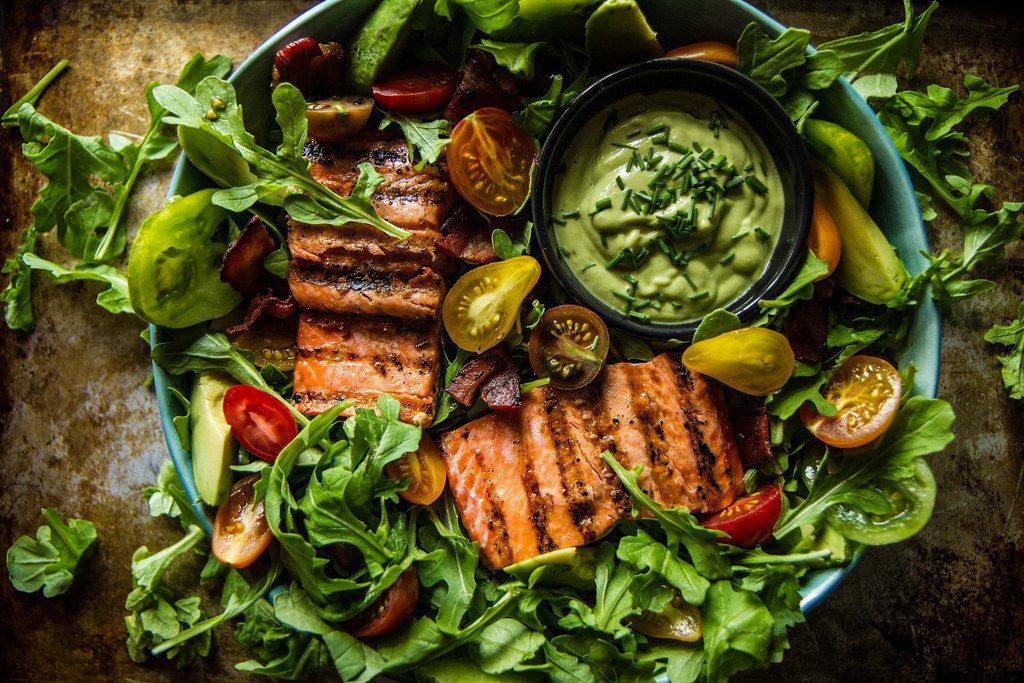 Salmon Salad with Creamy Avocado Green Goddess Salad