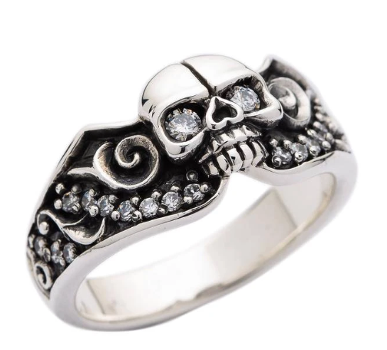 DIAMOND SKULL GOTHIC ENGAGEMENT RING