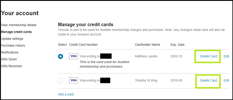 Removing Account details from Amazon account
