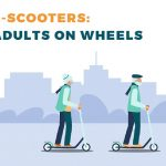 E-scooters Adults on wheels